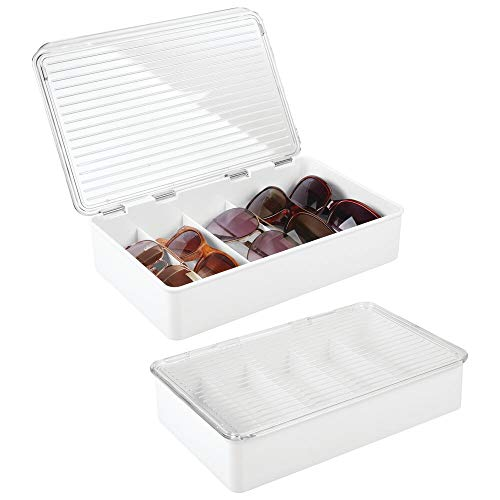 mDesign Juego de 2 cajas para gafas de sol – Clasificador de plástico con 5 compartimentos – Organizador de armarios para guardar todo tipo de gafas – blanco y transparente