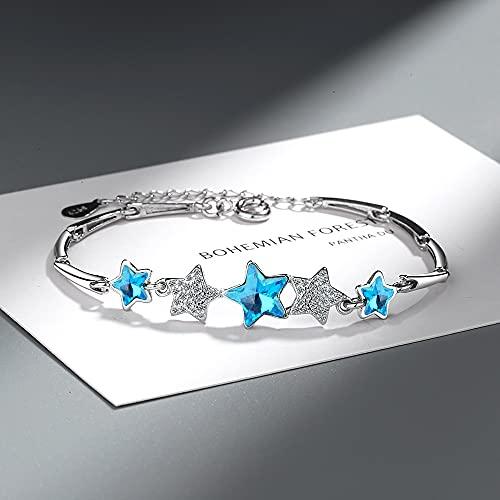 DJMJHG Pulsera de Cuentas de Estrella de Cristal Azul de Plata de Ley 925 para Mujer, Pulsera y Brazalete, joyería para Fiesta de Boda