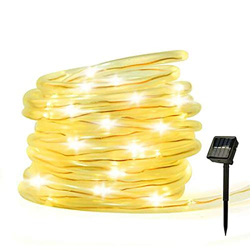 Solar Rope String Lights Plug in -120 LED Solar Garden Fairy Strip Lighting,Waterproof Low Voltage 8 Modes Outdoor Mains Powered Lights for Garden, Caravan, Camping,Tent,Indoor,Christmas(Warm White)