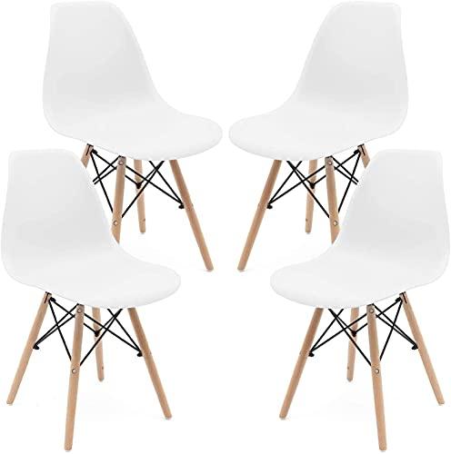 KUN_SK Conjunto de 4 sillas de comedor modernas y elegantes montadas de mediados de siglo para cocina, sala de cocina, color blanco