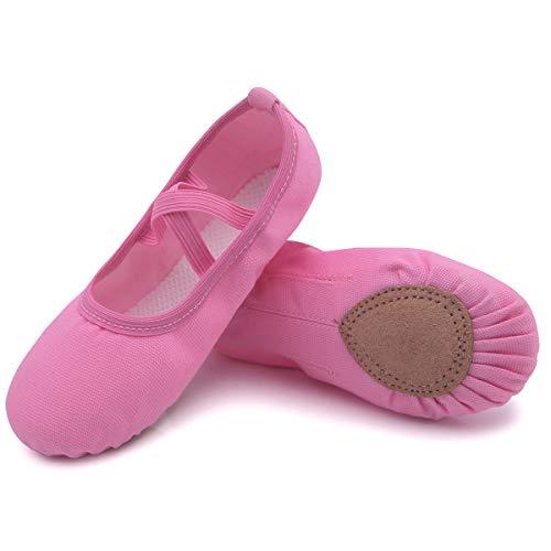 Ballettschuhe Mädchen Canvas Ballettschläppchen Damen mit Geteilte Ledersohle Faltbare Schläppchen Kinder Leicht Ballerina Tanzschuhe Gymnastik Schuhe Pink 25
