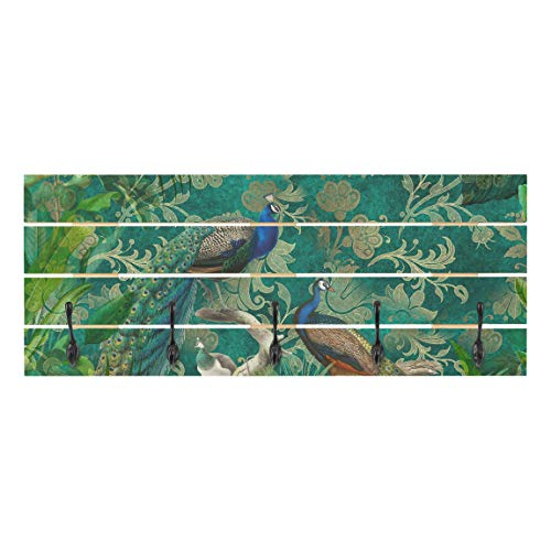 Bilderwelten Perchero de Madera   Shabby Chic Collage   Noble Peacock II   Ganchos Negros 40x100cm