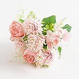 ASDGSDS Flores Artificiales, Flores de Rosas Artificiales Peonía de Seda Ramo de Novia Decoración de Boda Florero de Plantas Falsas para Accesorios para el hogar Artesanía navideña, Rosa