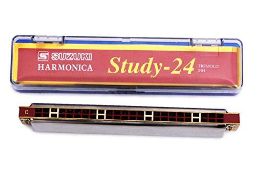 Suzuki Study-24 24 Holes Harmonica Tremolo & Cleaning Cloth Box O7P0
