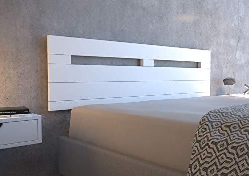 LA WEB DEL COLCHON - Cabecero de Madera Rústico Provenza para Cama de 150 (160 x 44 cms.) Blanco nórdico | Cabeceros Madera | Dormitorio Matrimonio | Cabezal Cama |Estilo nórdico