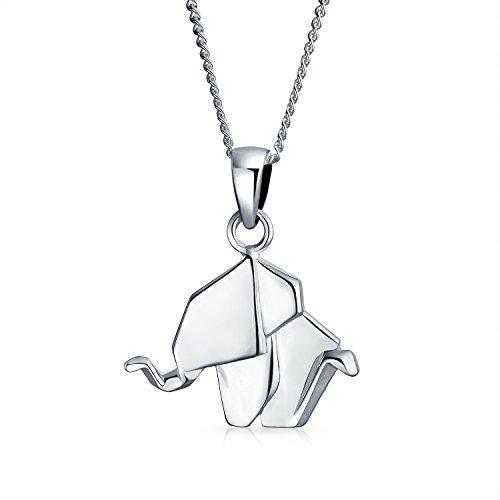 Colgante de Elefante Origami - Plata Esterlina 925 Pulido - Buena Suerte