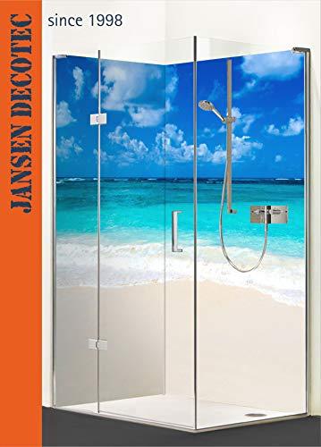 Eck - Duschrückwand, 2 Segmente je 90x200cm, Motiv: BeachLife - KOSTENLOSER Zuschnitt auf Ihr Wunschformat !