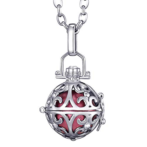 Morella® Damen Halskette Edelstahl 70 cm mit Ornament Anhänger und Klangkugel rosa Ø 16 mm in Schmuckbeutel