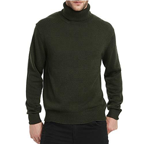 Kallspin Men's Merino Wool Blend Relax Fit Turtle Neck Sweater Pullover Dark Green Medium