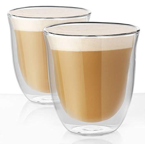 UMIGAL Doppelwandige Gläser Borosilikatglas - Für Tee, Kaffee, Latte, Cappuccino Gläser Kaffee Gläserset/Tee Doppelwandiges Café Crème- Glas Set 2-250ml (2 Gläser 250ML)