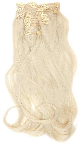 Love Hair Extensions - LHE/K1/QFC/120G/10PCS/18/24 - Thermofibre™ Lisses et Soyeux - 10 Pièces Clippants en Extensions - Couleur 24 - Blond Soleil - 46 cm