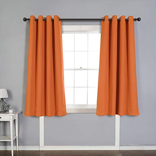 MYSKY HOME Solid Grommet top Thermal Insulated Window Blackout Curtains for Bedroom, 52 x 63 Inch, Orange, 1 Panel