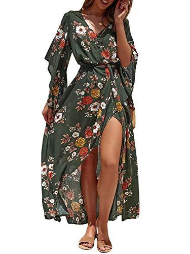 Boho Button Down Floral Beach Dress V Neck Split Party Dress Green-M