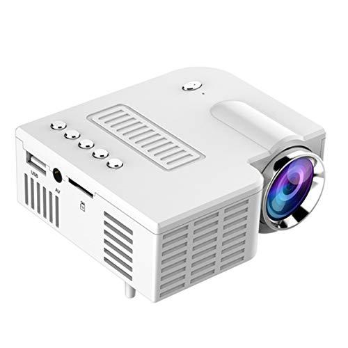 Videoproiettore Portatile UC28C cablato con Lo Stesso Schermo Proiettore Domestico Mini proiettore 3D Mini proiettore Video per Film-Bianco