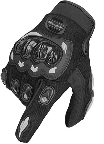 ARTOP Motorrad Handschuh Herren Damen Kinder Vollfinger Motorradhandschuhe Sommer Touchscreen Motorcross Handschuhe Männer(Black,XL)