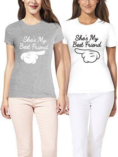 VIVAMAKE® Pack 2 Camisetas de Mujer Originales para Mejores Amigas con Diseño My Best Friend