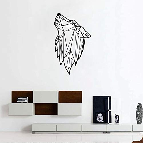 Tianpengyuanshuai Geometric wolf animal wall decals abstract wolf vinyl waterproof wall stickers modern home wall decoration -85x60cm