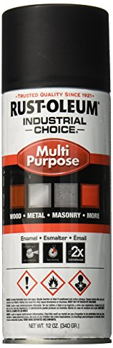 Rust-Oleum 1676830 1600 System Multi-Purpose Enamel Spray Paint, 12-Ounce, Ultra-Flat Black