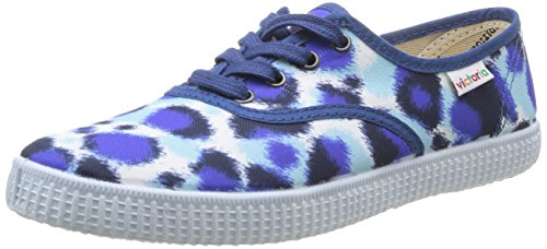 Victoria Inglesa Estamp Huella Tigre - Zapatillas de Deporte de Canvas para Mujer Azul Bleu (Azul) 37