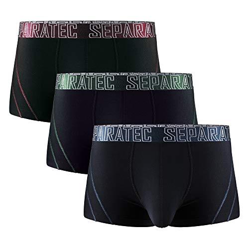 Separatec Herren Boxer Slips Glattes Bambus Rayon mit getrennten Beuteln Unterwäsche 3er Pack Boxershorts Stilvolle mehrfarbige Trunks (L, Kurze Beine: Schwarz)