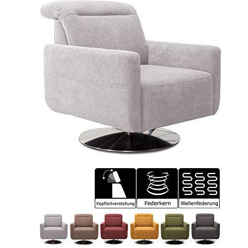 CAVADORE Sessel Gizmo / Drehsessel mit verstellbarer Kopfstütze und Federkern / 78 x 86 x 100 / Jacquard, hellgrau