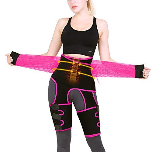 Kaqulec [New Plus Elastic Band] High Waist Trainer Thigh,3-in-1 Trimmer Fitness Weight Butt Lifter Slimming Support Belt Hip Enhancer Shapewear Thigh Trimmers for Women (Pink, XXL/3XL)