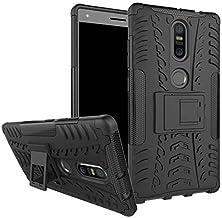 Lenovo Phab 2 Plus Case Heavy Duty Silicone Armor Kickstand Shock Phone Cover -Black