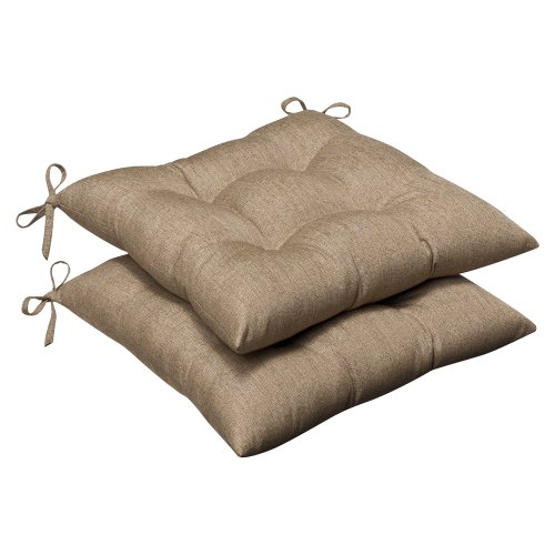 Pillow Perfect Indoor/Outdoor Wrought Iron Seat Cushion (Set of 2) with Sunbrella Linen Sesame Fabric, 19 in. L X 18.5 in. W X 5 in. D
