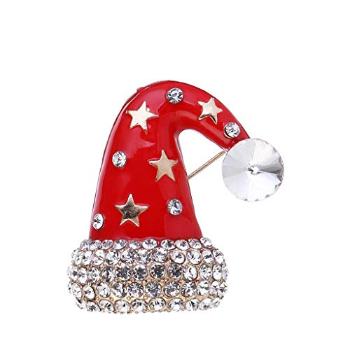 DGQY Holiday Christmas Hat Rhinestone Brooch Pin for Women Ladies Girls Jewellery