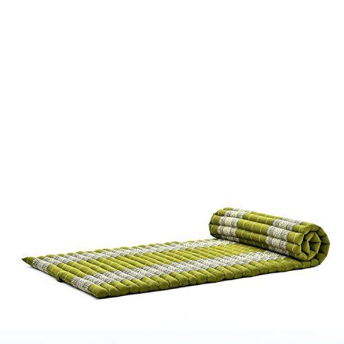 Leewadee Rollbare Thaimatte, 200x76x5 cm, Gästematratze Schlafmatte Yogamatte Massagematte Ökologisches Naturprodukt Thai Matte, Kapok, grün