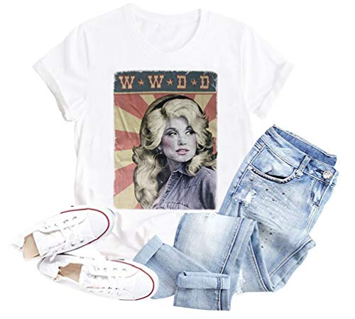 GEMLON Women Vintage Shirt Retro Graphic Tee Tops Short Sleeve Summer Casual T-Shirt Lady Outfit Size S White