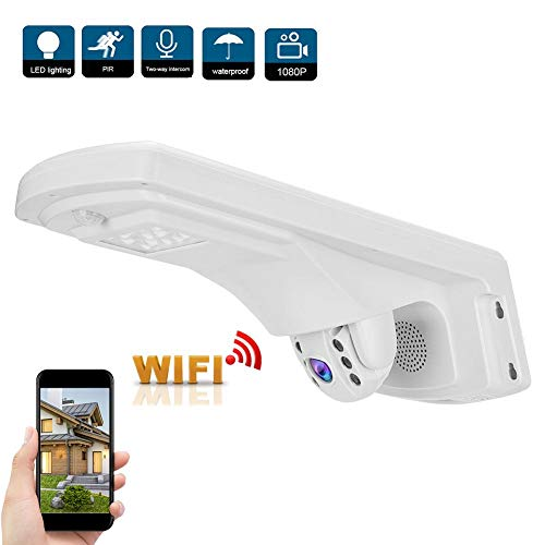 WiFi-buitenbeveiligingscamera, draadloze WiFi 1080P PTZ CCTV-bewakingscamera met dubbele lichtbronnen Nachtzicht + PIR-sensor + IP66 waterdicht + 2-weg audio(EU)