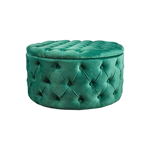 riess-ambiente.de Eleganter Couchtisch MODERN BAROCK 75cm smaragdgrün Samt Hocker mit Stauraum