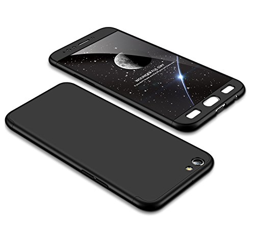 MEVIS Oppo F3 Plus Hülle,360 Grad hülle Fullbody case+(1*Hartglas Glasfilm Schutzfolie) 3 in 1 Ultra dünner pc Hardcase Scratch & Shockproof-Schwarz
