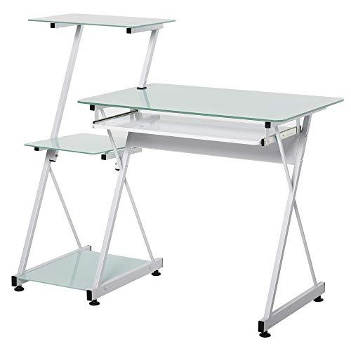 HOMCOM Computertisch mit Glasplatte, Schreibtisch, Bürotisch, Gamingtisch, Kinderschreibtisch PC-Tisch, Weiß, 116,5 x 54,5 x 10 cm