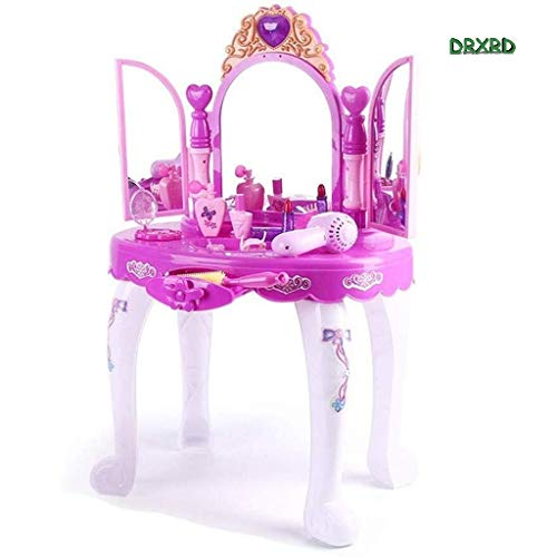 Children's Interesting Toy Girls Dressing Make Up Vanity Table, Glamorous Princess Pretend Vanity Desk with Stool Mirror Hair Dryer Best Gift for Girls 0218