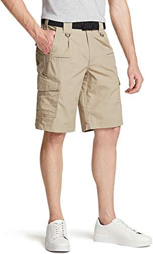 CQR Pantalones cortos cargo para hombre, ligeros, holgados, informales, para exteriores, elásticos, multibolsillos Tsp203 1pack - Khaki 34