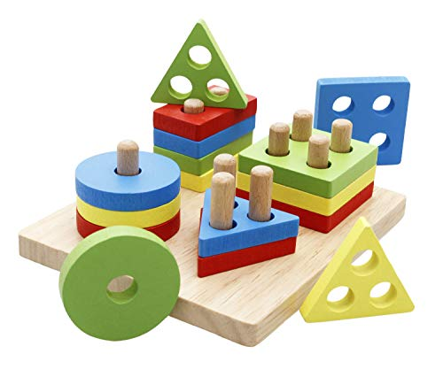 Lewo Wooden Educational Toddler Toys Geometric Shapes Block Board Stack Sort Chunky Puzzle