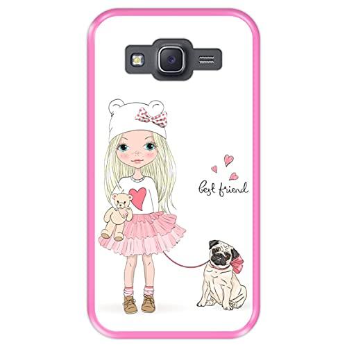 Hapdey Funda Rosa para [ Samsung Galaxy J5 2015 ] diseño [ Mejor Amigo, Best Friend ] Carcasa Silicona Flexible TPU