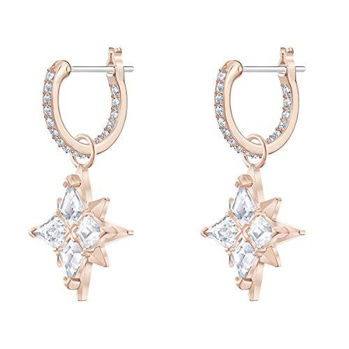 Swarovski Orecchini A Cerchio Symbolic Star, Bianco, Placcato Oro Rosa
