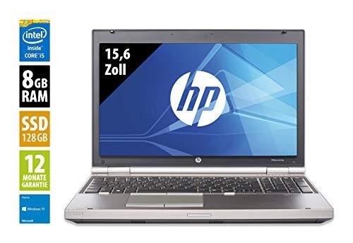 HP Elitebook 8570p - 15,6 Zoll - Core i5-3320M @ 2,6GHz - 8GB RAM - 128GB SSD - DVD-ROM - WXGA (1366x768) - Win10Home (Zertifiziert und Generalüberholt)