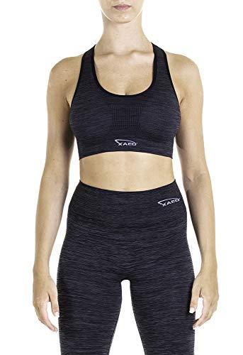XAED Women's Fitness Sports Bra, Mehrfarbig (dunkelgrau / schwar), Medium