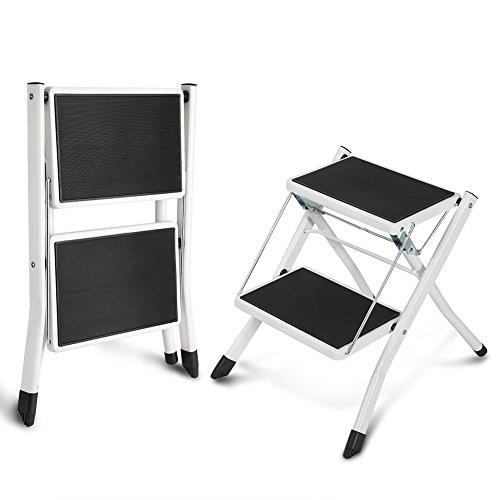 Taburete Escalera de Acero Plegable Escalera de Tijera de 2 Peldaños Antideslizante Carga 120 kg Escalera de Mano Doméstico