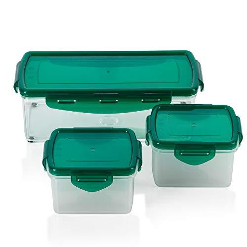 Genius Nicer Dicer Fusion smart (6 Teile) in Mintgrün inkl. Frischhaltedeckel(1x 1,25l & 2x0,4l) Auffangbehälter Dosen Box Aufbewahrungs-box Vorrats-Dose Frischhalte-Dose