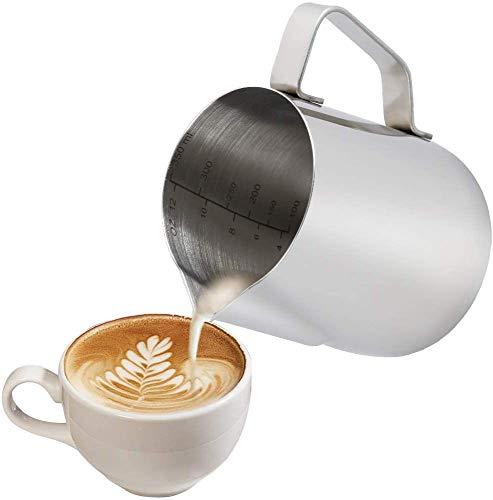 Milchkännchen, 350 ml Handheld Edelstahl Aufschäumkännchen, Kaffee Creamer Milch Aufschäumer Kännchen Tasse mit Messung Mark, Milchkännchen perfekt für Barista Cappuccino Espresso