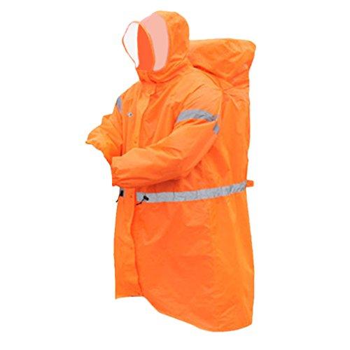 Vestes coupe-pluie Bande Réfléchie Imperméable Poncho de Pluie - Taille unique, Orange