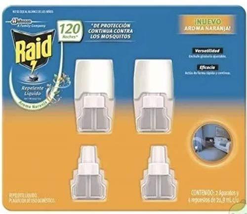 Raid Repelente Líquido Aroma Naranja 120 noches de protección Incluye: 02 aparatos y 04 repuestos