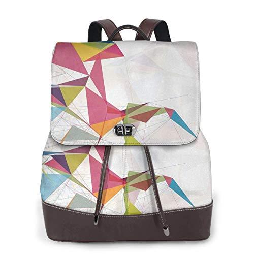 SGSKJ Rucksack Damen Futuristische Mesh Triangles Circles, Leder Rucksack Damen 13 Inch Laptop Rucksack Frauen Leder Schultasche Casual Daypack Schulrucksäcke Tasche Schulranzen