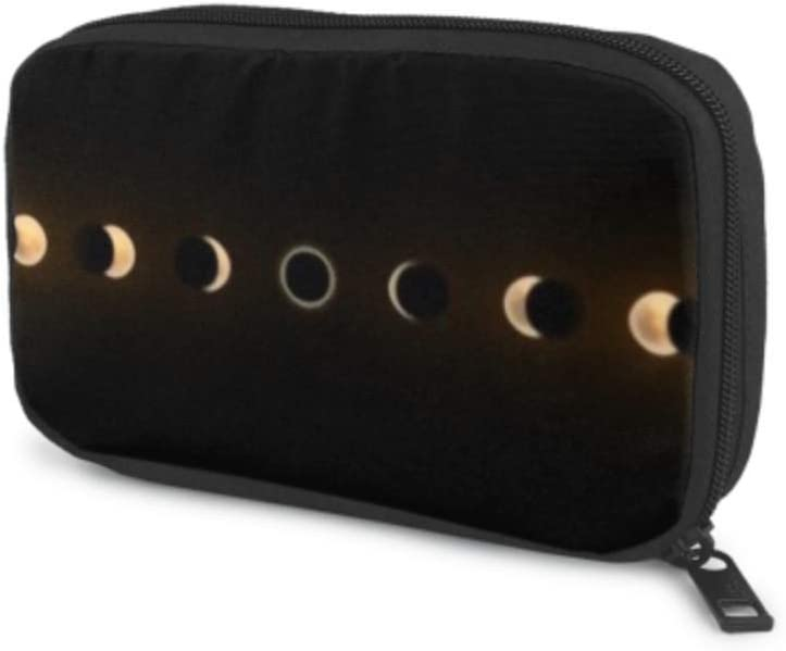 Electronics Accessories Organizer Bag Solar Lunar Eclipses Full Cycle Sun Electronics Organizer Electronic Accessories Cable Organizer Bag Storage Bag of Cases for Cable, Charger, Phone, USB, Sd Ca