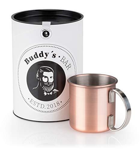 Buddy´s Bar - Moscow Mule Becher, 450 ml, hochwertiger Edelstahl-Becher, lebensmittelecht, Cocktail-Tasse inklusive Geschenkbox, Kupfer Antik, 1 Stück